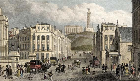 Engraving from 'Modern Athens'  -  hand-coloured  -  Waterloo Place and Calton Hill