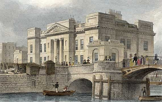 Engraving in 'Modern Athens'  -  hand-coloured  -  Custom House at Leith