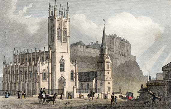 Engraving in 'Modern Athens'  -  hand-coloured  -  St John's Church at the West End of Princes Street