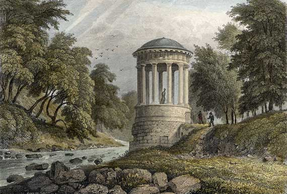 Engraving in 'Modern Athens'  -  hand-coloured  -  St Bernard's Well beside the Water of Leith at Stockbridge