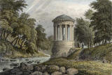 Engraving from 'Modern Athens'  -  hand-coloured  -  St Bernard's Well beside the Water of Leith at Stockbridge