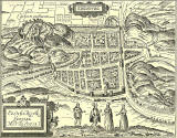 Engraving in 'Old & New Edinburgh'  -  Map of Castle and City of Edinburgh  -  1575