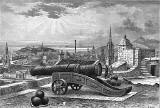 Engraving  -  View from beside Mons Meg at Edinburgh Castle, looking towards Calton Hill