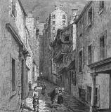 Engraving from 'Old & New Edinburgh  -  Fleshmarket Close