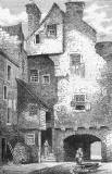 Engraving from 'Old & New Edinburgh'  -  Huntly House, as seen from Bakehouse Close