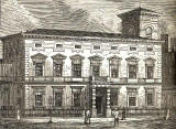 Engraving from Grant's Old & New Edinburgh  -  The Corn Exchange in the Grassmarket