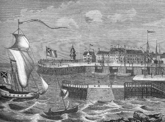 Engraving from 'Old & New Edinburgh'  -  Leith Harbour