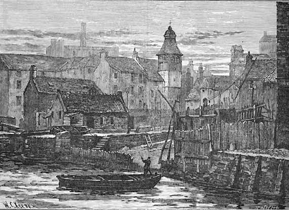 Engraving from 'Old & New Edinburgh'  -  Leith  -  St Ninian's Church