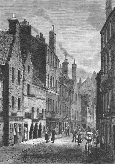 Engraving from 'Old & New  Edinburgh'  -  Kirkgate, Leith