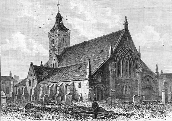 Engraving from 'Old & New Edinburgh'  -  South Leith Church  -  1817