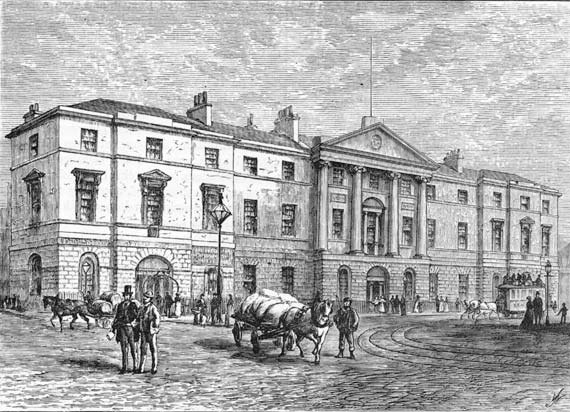 Engraving from 'Old & New Edinburgh'  -  The Exchange Buildings, Leith