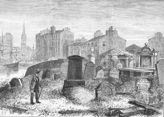 Engraving from 'Old & New Edinburgh'  -  St Ninian's Churchyard, Leith