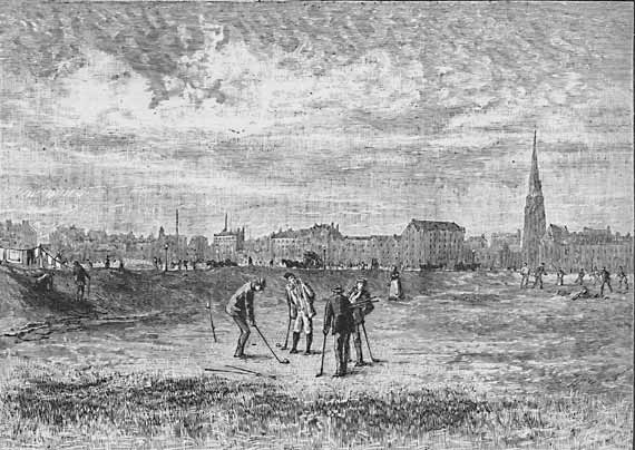 Engraving from 'Old & New Edinburgh'  -  Leith Links