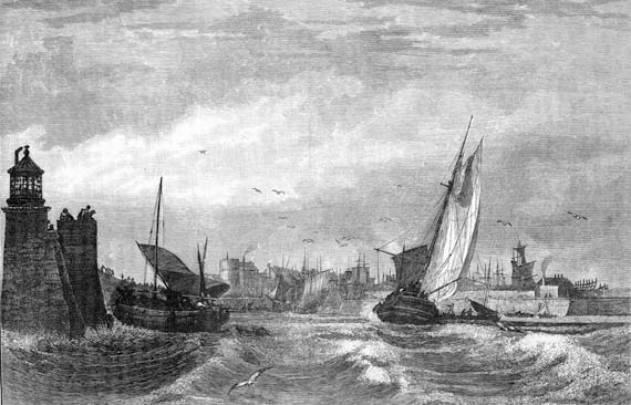 Engraving from 'Old & New Edinburgh'  -  Leith Harbour Entrance