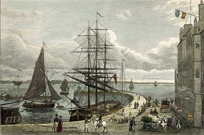 "Engraving from ""Old & New Edinburgh""  -  Leith Pier and Harbour  -   hand coloured"