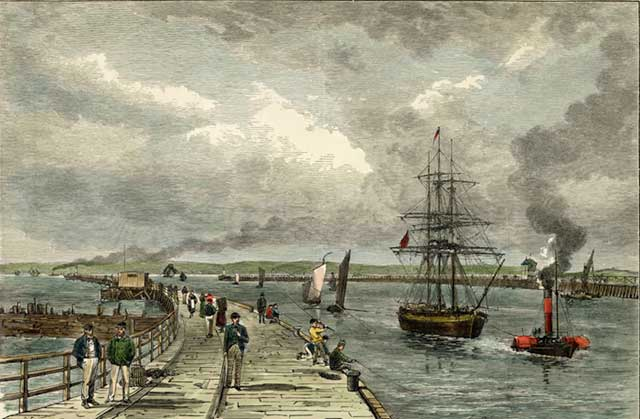 Engraving from 'Old & New Edinburgh'  -  Leith East and West Piers  -  hand coloured