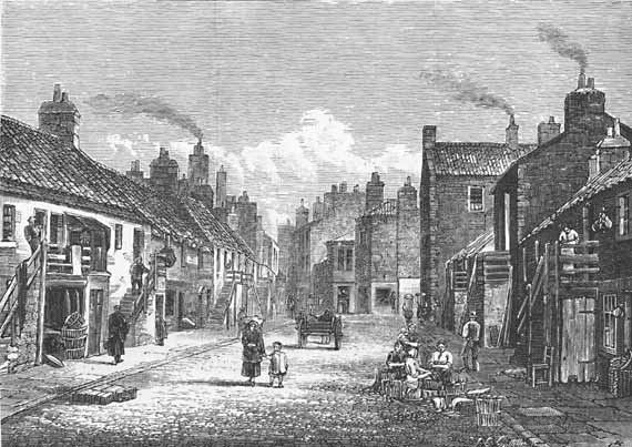 Engraving from 'Old & New Edinburgh'  -  Newhaven Main Street