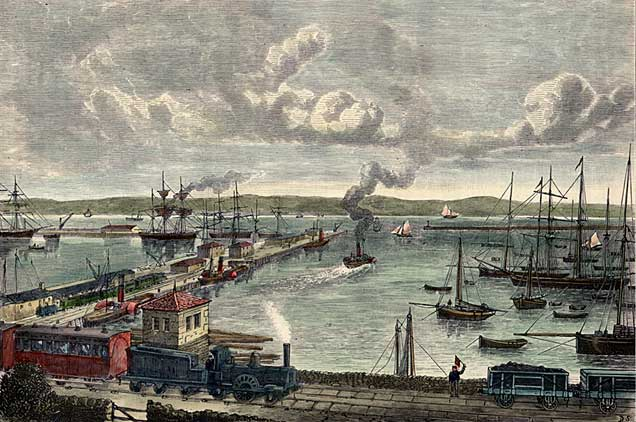 "Engraving from ""Old & New Edinburgh""  -  Granton Harbour  -  hand coloured"