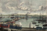 "Engraving from ""Old & New Edinburgh  -  Granton Harbour  -  hand coloured"