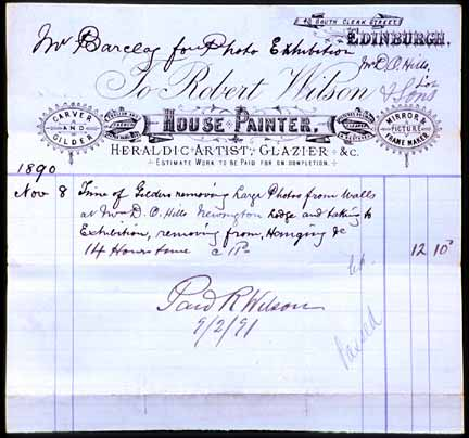 Bill for Transfer of DO Hill pictures  -  1890