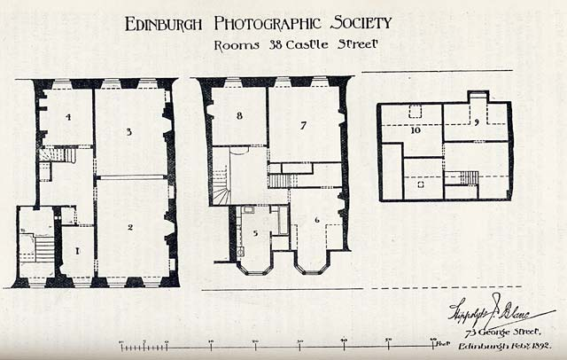 Edinburgh Photographic Society Premises  -  Plan of 38 Castle Street in 1892