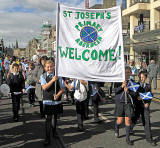 Princes Street, on the day of the visit by Pope Benedict XVI, September 16, 2010  -  School Banner