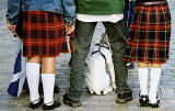 Edinburgh Festival Visitors 2003  -  kilts, flag and dog