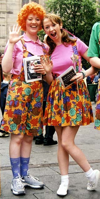 Performers in the Royal Mile, handing out leaflets for 'The Prime of Miss Jean Brodie'.