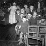 Boys at a Boys' Home or Orphanage near Balerno, visited by Airmen from USAF Base at Kirknewton at Christmas 1963 or 1964