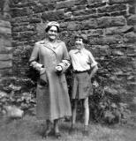 Elizabeth Imrie and her granddaughter, Doreen Brown on the back green of Elizabeth's tenement at Murdoch Terrace, Edinburgh  -  around the 1950s