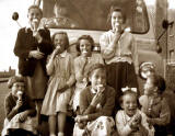 Group in front of an ice cream van in West Pilton Grove