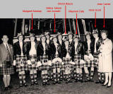 Jean Carnie's Leith Ladies Pipe Band and coach + some names