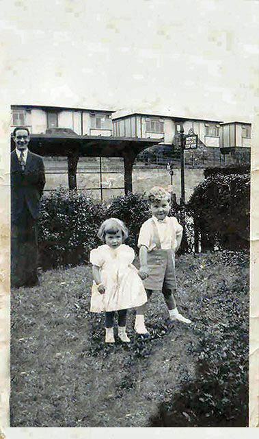 Two Children beside Longstone Road + Prefabs in Redhall Crescent in the background