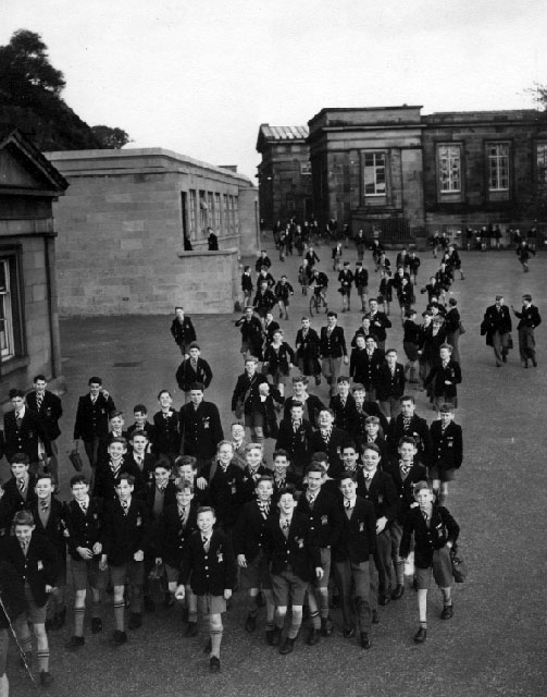Pupils leave the Royal High School buildings at Calton Hill, probably around 1949-50