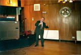 Danny Callaghan on stage at the Navy Club, Broughton, in the late 1980s, aged about 80.