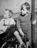 Dave Ferguson and his younger brother, Rab, in the back green of their home at 39 West Granton Road, around 1940
