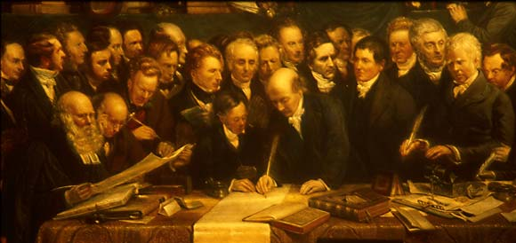 DO Hill's painting of the Disruption - detail of the signing