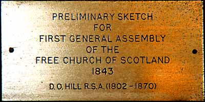 Plaque for the Preliminary Sketch for DO Hill's Painting of the Disruption