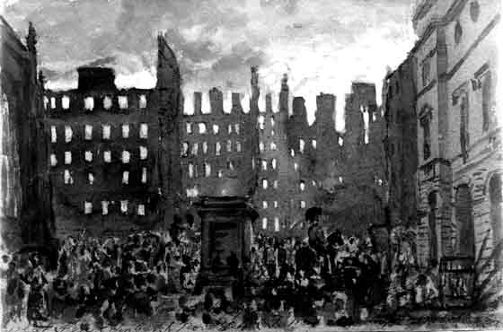 DO Hill  -  watercolour of Parliament Square during fire of 1824
