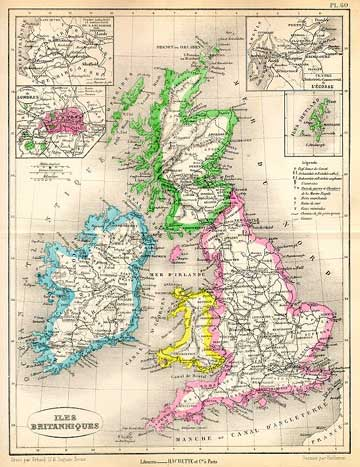 Map of the British Isles -  1877