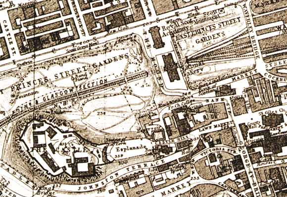 Central Edinburgh  -  The National Galleries and Edinburgh Castle  -  1917 map