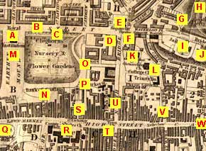 Map of Edinburgh Waverley  -  1844  -  with locations A to W marked, and key