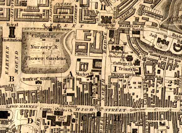 Map of Edinburgh Waverley  -  1844