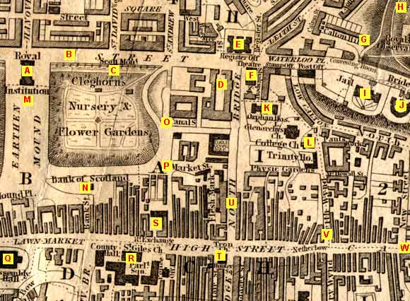 Map of Edinburgh Waverley  -  1844  -  with locations A to W marked