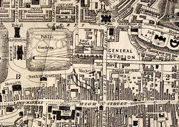 Map of Edinburgh Waverley  -  1858