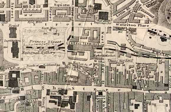 Map of Edinburgh Waverley  -  1860