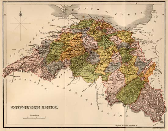 Map of Edinburghshire  -  The whole county