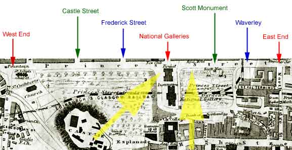 Map of Princes Street and Princes Street Gardens  -  1860