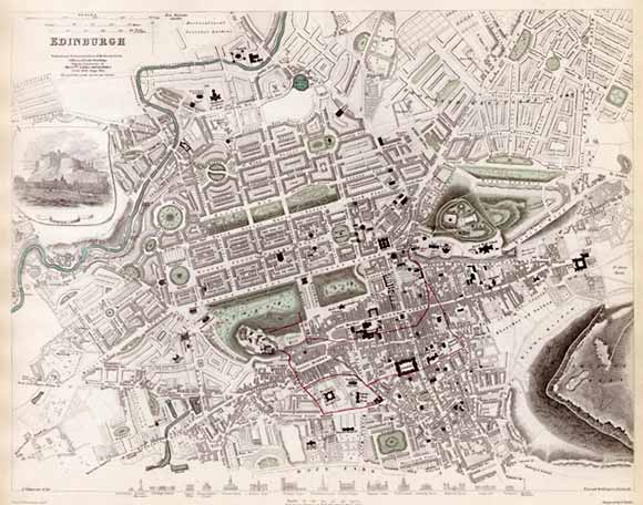 Map  - Edinburgh  -  1844  -  Produced for the Society for the Diffusion of Useful Knowledge