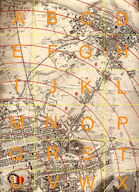 Edinburgh Time-Gun Map  -  1861  -  Edinburgh to Leith  -  with key